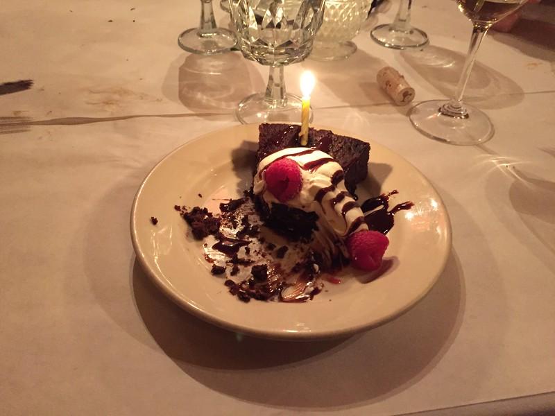 Chocolate cake w/raspberries.