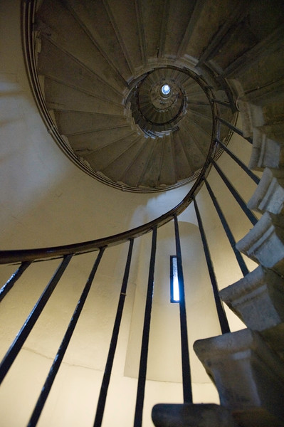 Spiral staircase inside The Monument, London, United Kingdom