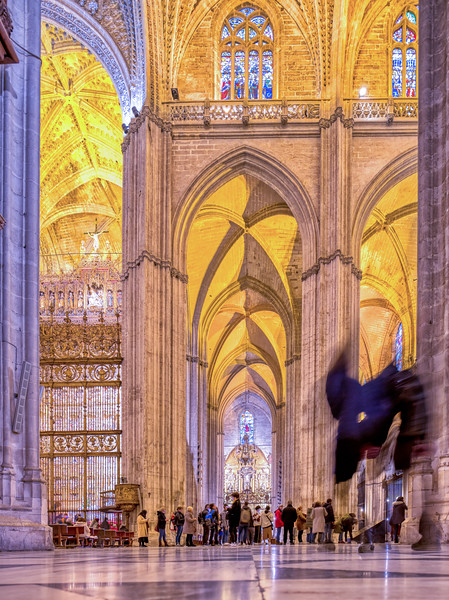 Gothic aisle, Cathedral of Seville, Spain.
