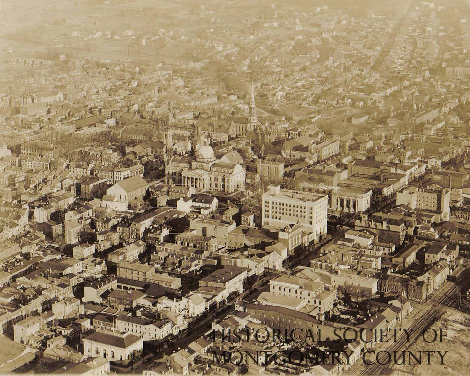 . This photo provided by the Historical Society of Montgomery County shows an aerial view of downtown Norristown circa 1930.
