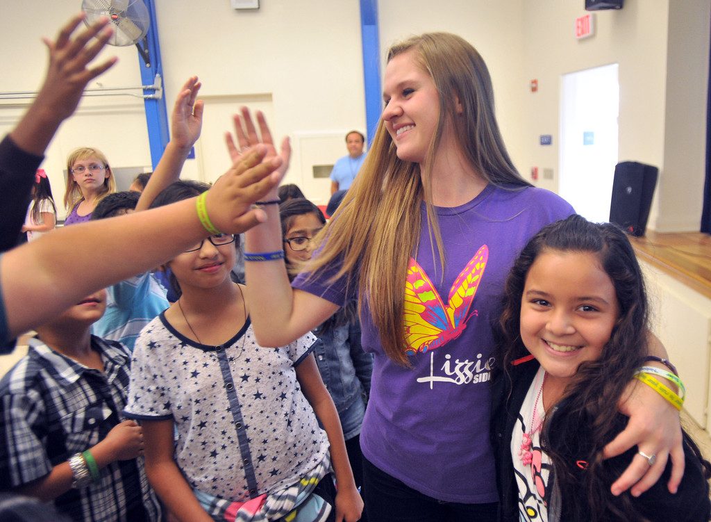 . Country Western singer Lizzie Sider, 15, meets with students during her 80-school California Bully Prevention Tour for students at Ocean View Elementary School in Whittier on Monday November 4, 2013. (Whittier Daily News/Staff Photo by Keith Durflinger)