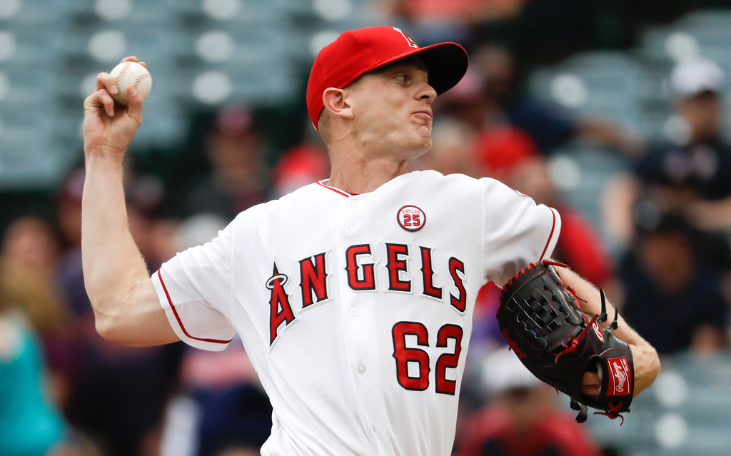 . Los Angeles Angels starting pitcher Parker Bridwell throws against the Cleveland Indians during the first inning of a baseball game in Anaheim, Calif., Thursday, Sept. 21, 2017. (AP Photo/Chris Carlson)