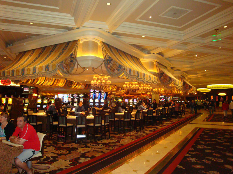 One of the gambling table areas in the Bellagio.