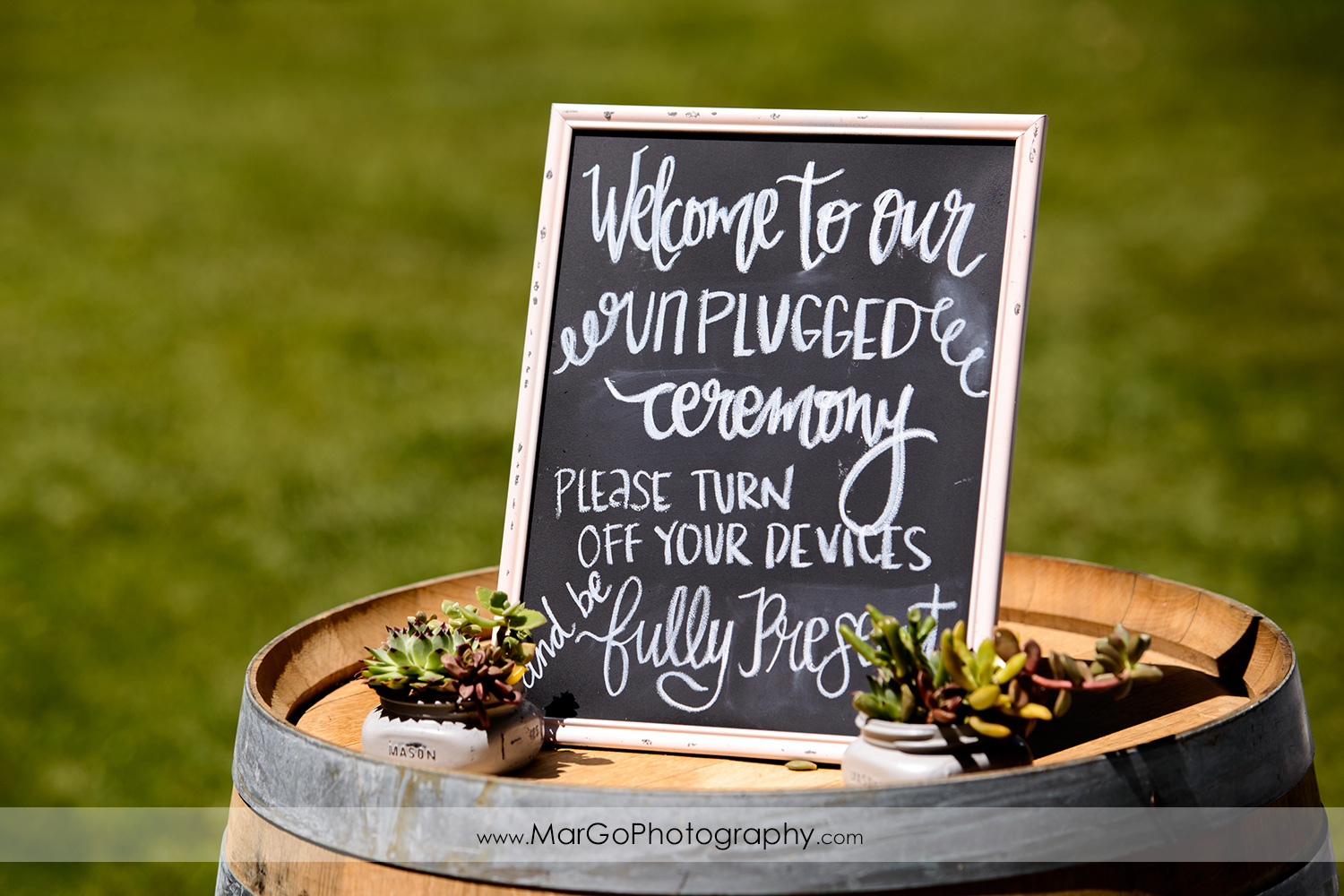 wedding ceremony sign at Picchetti Winery in Cupertino