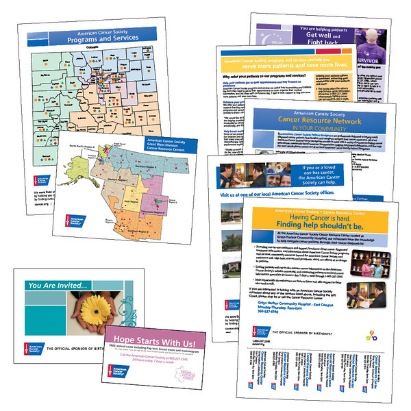 American Cancer Society CRC flyers, maps, invitation, and business card