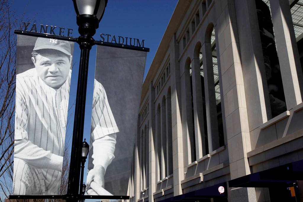 . A photo of Babe Ruth is displayed outside the new Yankee Stadium before their home opener against the Cleveland Indians on Thursday, April 16, 2009, in New York. (AP Photo/Seth Wenig)