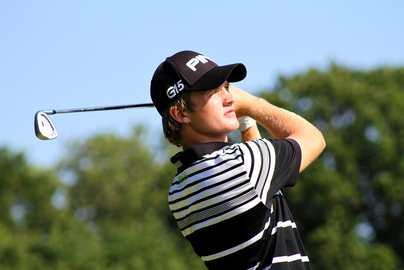 No. 3 world ranked British sensation Tom Lewis, 19, of Welwyn Garden, England, tees off the 3rd hole in Wednesday's second round.