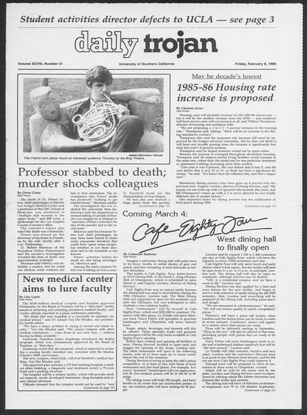 Daily Trojan, Vol. 98, No. 21, February 08, 1985