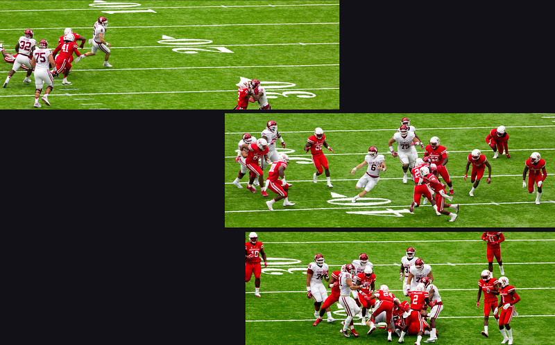Mayfield keeps the ball for a 7-yard gain.