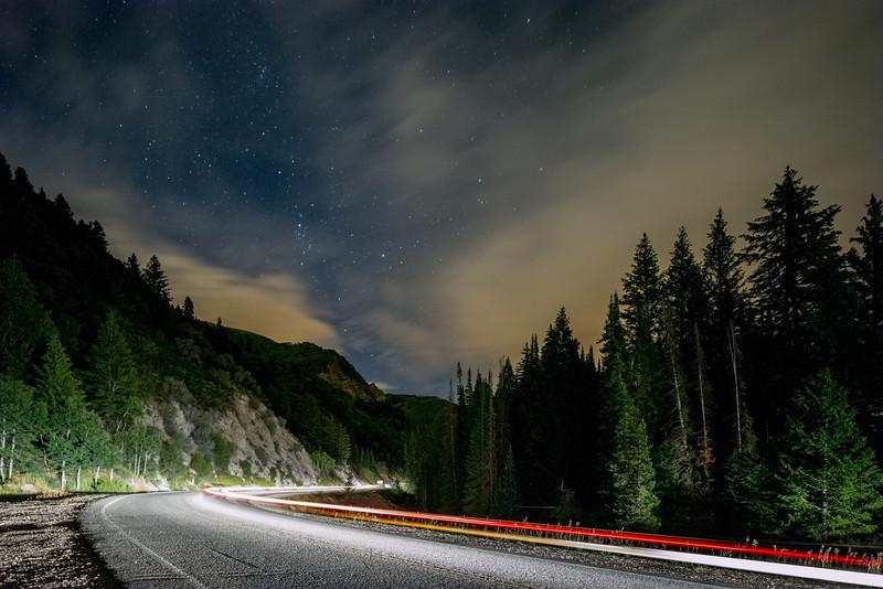 Driving Through the Canyon at Night