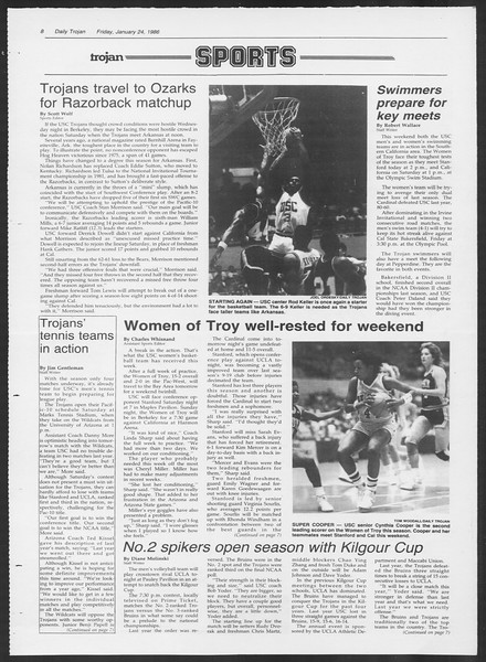 Daily Trojan, Vol. 100, No. 11, January 24, 1986