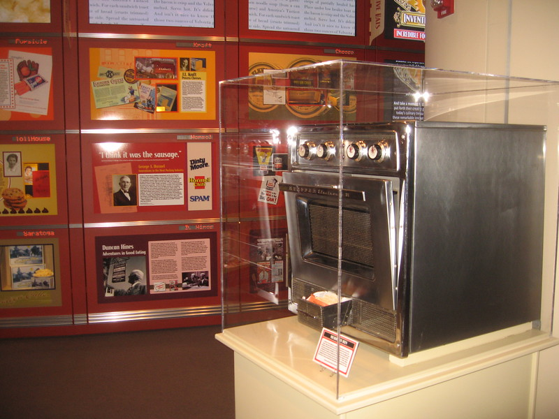 The first microwave oven for home use, in the Inventive Eats: Incredible Food Innovations exhibit, in the National Inventors Hall of Fame and Museum, at the U.S. Patent and Trademark Office (3/9/11)