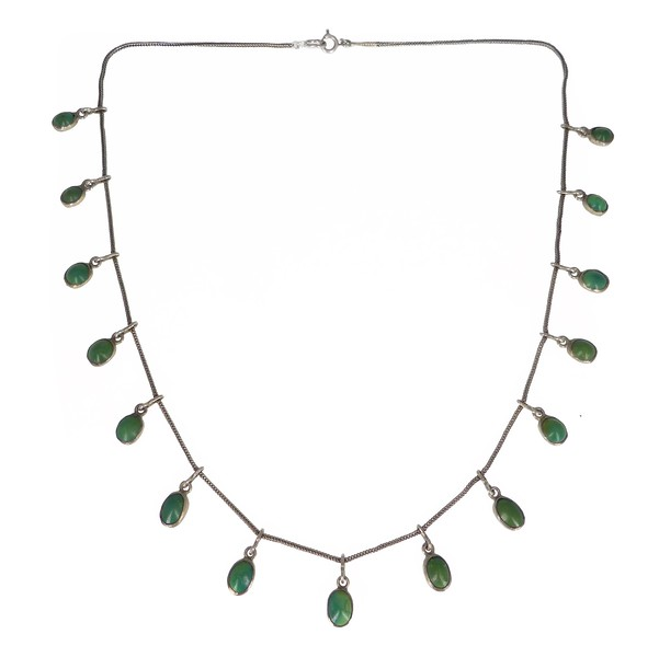 Antique Edwardian Silver Turquoise Drop Chain Necklace