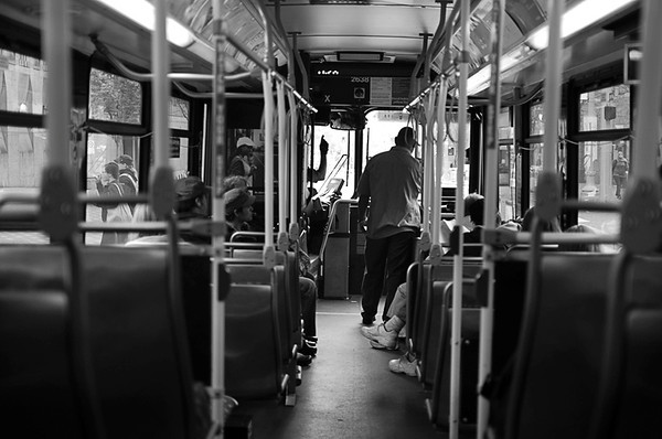 0424 transportation  What a treat to be on an uncrowded bus and actually get a seat.