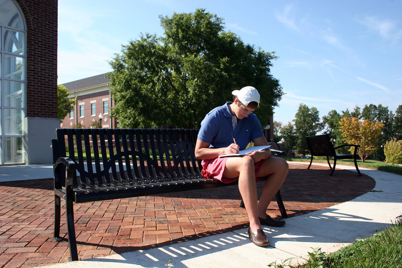 Gardner-Webb student Hal McKay studies at the Hollifield Carillon (bell tower) on a beautiful September morning on the campus of Gardner-Webb University.