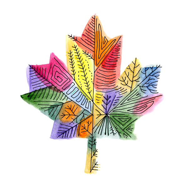 Abstract Line Drawing / Inner Maple Leaves / Canadian Maple Leaf / Maple Leaf Art / Celebrate Canada 150 / Canada 150 Art / Free Colouring Page for Adults and Children