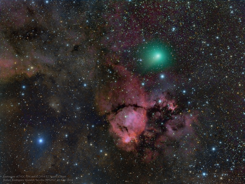 Close encounter Comet c/2014 E2 and NGC896 Heart Bebula