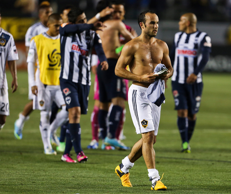 . Los Angeles Galaxy midfielder Landon Donovan during the CONCACAF Champions League semifinal, Wednesday, April 3, 2013, in Carson, Calif. Monterrey won 2-1. (AP Photo/Bret Hartman)