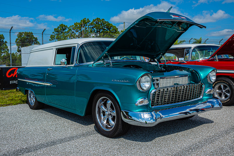 A 1955 210 Sedan Delivery, owned by Mike Kelly of Cape Coral at the Super Chevy Show at Palm Beach International Raceway in Jupiter on Saturday, May 25, 2019.  [JOSEPH FORZANO/palmbeachpost.com]