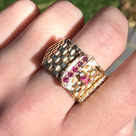 .38ctw Antique Diamond and Ruby Buckle Ring