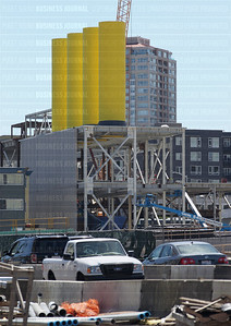 Pictured are the newly constructed exhaust towers adjacent to Aurora Avenue North at the North portal of the Alaskan Way Viaduct tunnel project in Seattle, Washington
