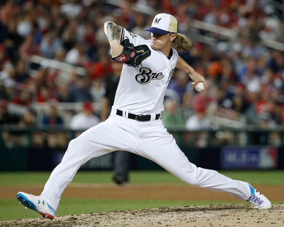 . Milwaukee Brewers pitcher Josh Hader (71) throws during the eighth inning at the Major League Baseball All-star Game, Tuesday, July 17, 2018 in Washington. (AP Photo/Alex Brandon)
