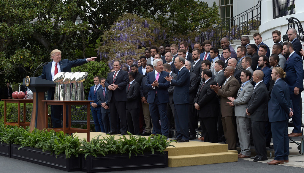 . President Donald Trump speaks on the South Lawn of the White House in Washington, Wednesday, April 19, 2017, speaks during a ceremony where he honored the Super Bowl Champion New England Patriots for their Super Bowl LI victory. (AP Photo/Susan Walsh)