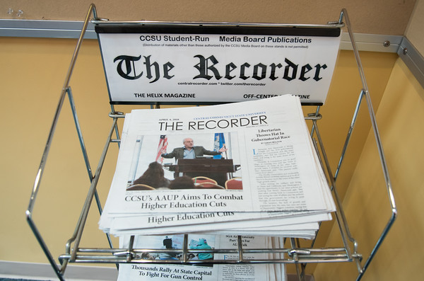 04/10/18 Wesley Bunnell | Staff The CCSU student run newspaper The Recorder's April 4 edition sits on a news rack in the student union on Tuesday April 10.