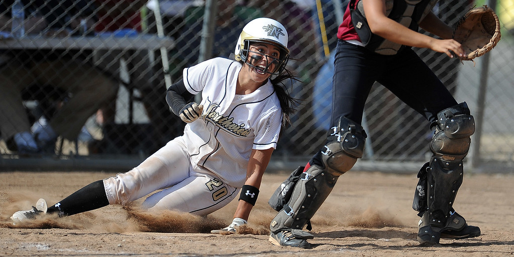 . Northview\'s Sarina Jaramillo (C) (20) scores in the fourth inning of a CIF-SS quarterfinal playoff softball game against Barstow at Northview High School on Thursday, May 23, 2013 in Covina, Calif. Northview won 5-4.  (Keith Birmingham Pasadena Star-News)