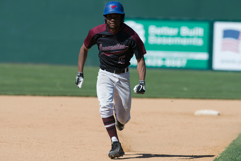 05/21/19  Wesley Bunnell | Staff  Innovation baseball defeated MLC on Tuesday afternoon at New Britain Stadium. Melvin Saylor (5) runs from second to third base.