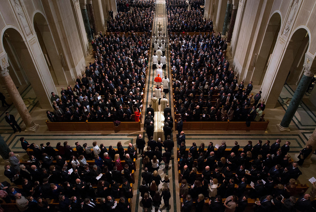 . The procession for the funeral mass for the late Supreme Court Associate Justice Antonin Scalia at the Basilica of the National Shrine of the Immaculate Conception in Washington, Saturday, Feb. 20, 2016.  (Doug Mills/The New York Times via AP, Pool)