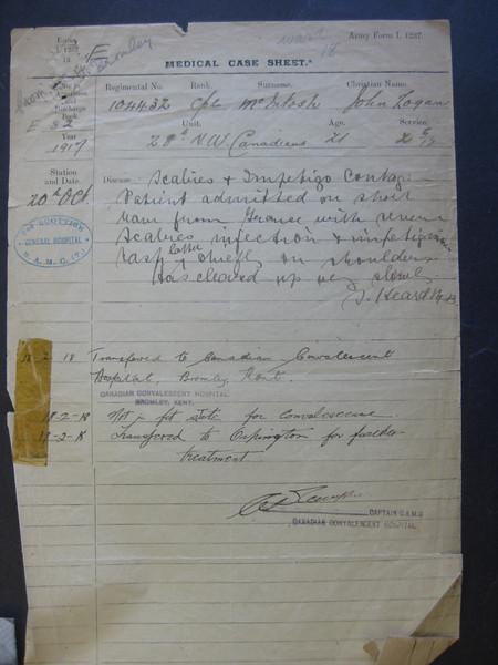 McIntosh - John Logan WW1 Papers
