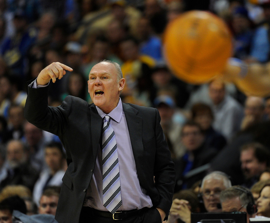 . DENVER, CO. - MARCH 21: Denver coach George Karl came off the bench to shout instructions in the last minutes of the game. The Denver Nuggets defeated the Philadelphia 76ers 101-100 Thursday night, March 21, 2013 at the Pepsi Center. The Nuggets are on a 14-game record winning streak that is a team record. (Photo By Karl Gehring/The Denver Post)