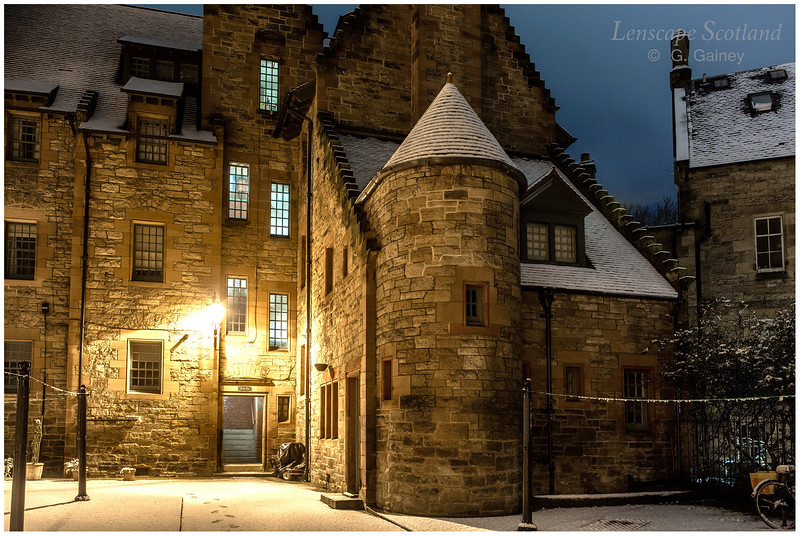 Dean Village in the snow, at night (4)