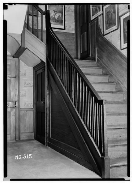 The famous main staircase at Liberty Hall. Historic accounts talk about British soldiers being scared off by Susan Livingston illuminated by lightning while they were trying to commandeer the house. The soldiers thought that Miss Livingston was the ghost of Hanna Caldwell who had been murdered earlier that day and ran away in fear.