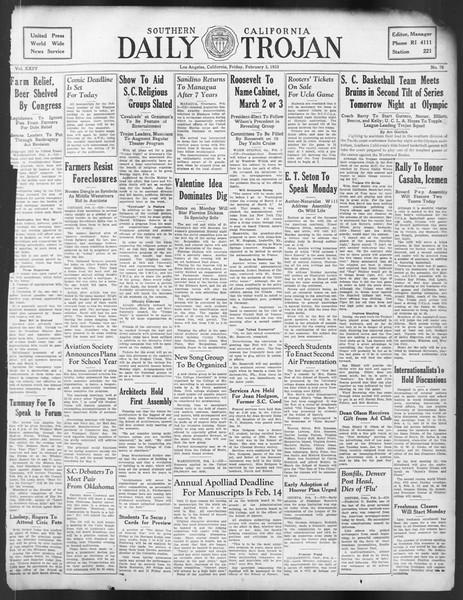 Daily Trojan, Vol. 24, No. 78, February 03, 1933