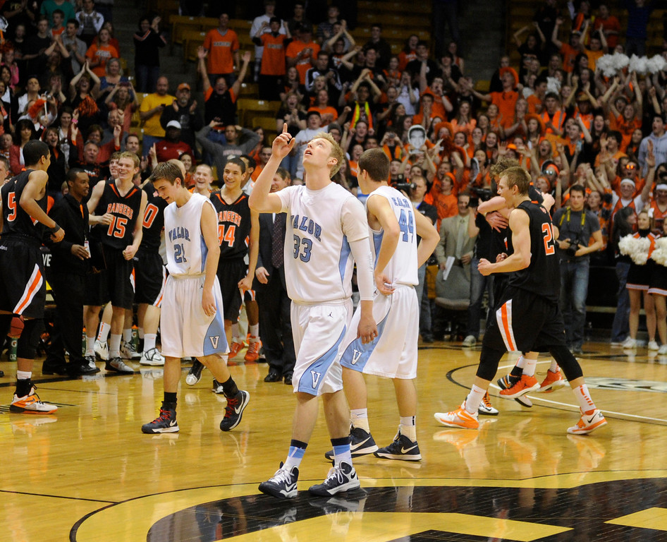 . BOULDER, CO. - MARCH 16: Eagles forward Chandler Lisle thanked the Lord in the pain of the loss. Lewis Palmer-High School boy\'s basketball team defeated Valor Christian 51-40 in the 4A championship game Saturday, March 16, 2013 at the Coors Events Center in Boulder.  (Photo By Karl Gehring/The Denver Post)