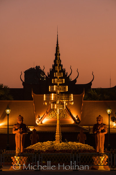 Sunset behind the Cambodian National Museum in Phnom Penh, Cambodia