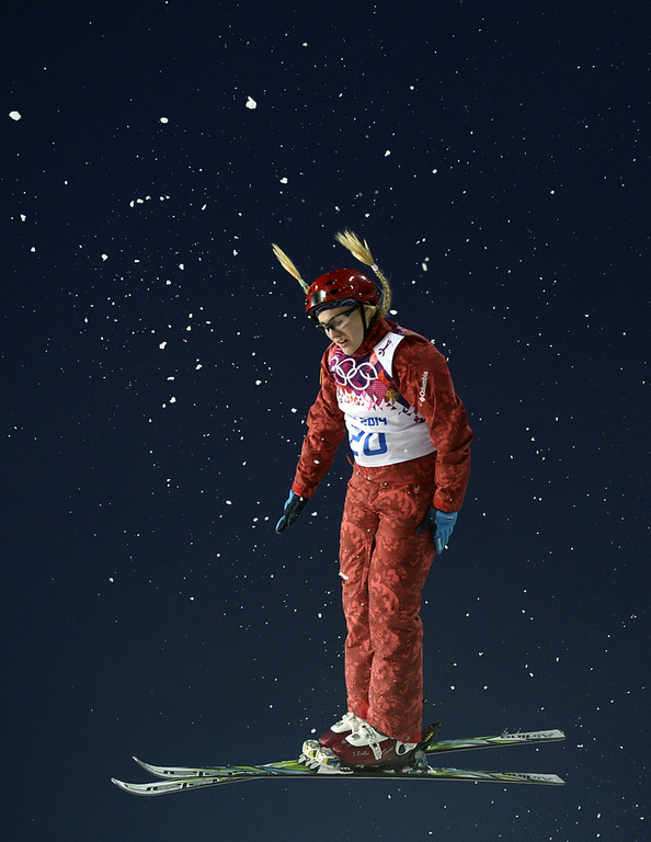 . Russia\'s Alexandra Orlova competes in the Women\'s Freestyle Skiing Aerials Qualifications at the Rosa Khutor Extreme Park during the Sochi Winter Olympics on February 14, 2014.  (FRANCK FIFE/AFP/Getty Images)