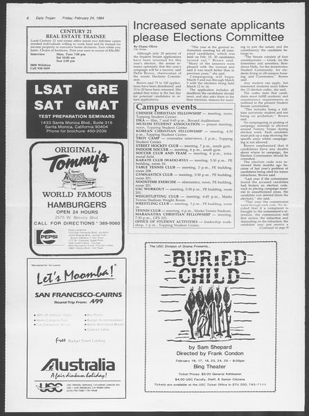 Daily Trojan, Vol. 95, No. 32, February 24, 1984