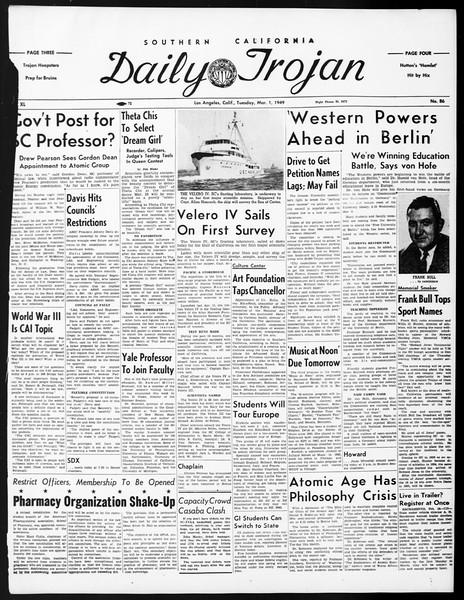 Daily Trojan, Vol. 40, No. 88, March 01, 1949