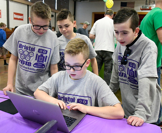 4/12/2018 Mike Orazzi | Staff West Bristol students, Collin Cavallari, Danny Funk, Ian Nanowski and Noah Van-Alstyne during the 2018 Middle School Robotics Challenge held at the Northeast Middle School Thursday.