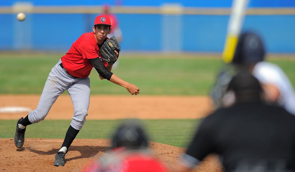 . HARBOR CITY - 04/04/2013 - (Staff Photo: Scott Varley/LANG)  Long Beach City College vs L.A. Harbor College baseball at LAHC. LBCC pitcher Edgar Navar.