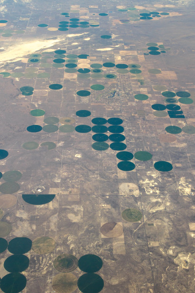 Aerial view of irrigated fields