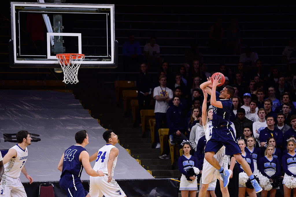 . Jalen Sanders (22) of Valor Christian pulls up for a three point basket during the second half at the Coors Events Center on March 11, 2016 in Boulder, Colorado. Valor Christian defeated Longmont 58-53 to advance to the 4A finals of Colorado state basketball tournament.  (Photo by Brent Lewis/The Denver Post)
