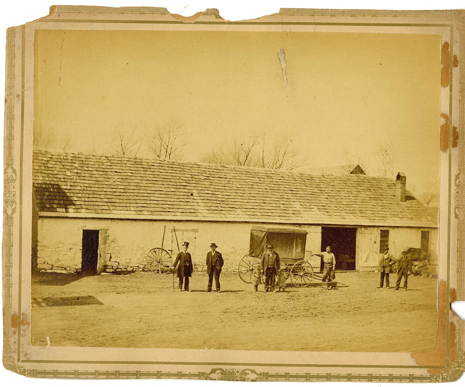 . This undated photo from the Historical Society of Montgomery County shows he Marple �long shed� in Plymouth Meeting � it used to be called �Hickoryville.�  The people in the photo are, from left, Mr. Senedefer, Mr. Lysinger, Mary Bennet Hipple, Grandfather Marple, Bessie V. Hipple, Mr. Davis, Mr. Sam Davis and Mr. Joe Amblers.