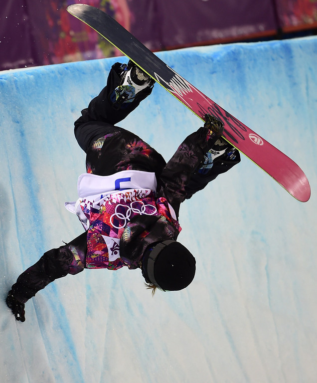 . Czech Republic\'s Sarka Pancochova competes in the Women\'s Snowboard Halfpipe Semifinals at the Rosa Khutor Extreme Park during the Sochi Winter Olympics on February 12, 2014.  AFP PHOTO / JAVIER SORIANO/AFP/Getty Images