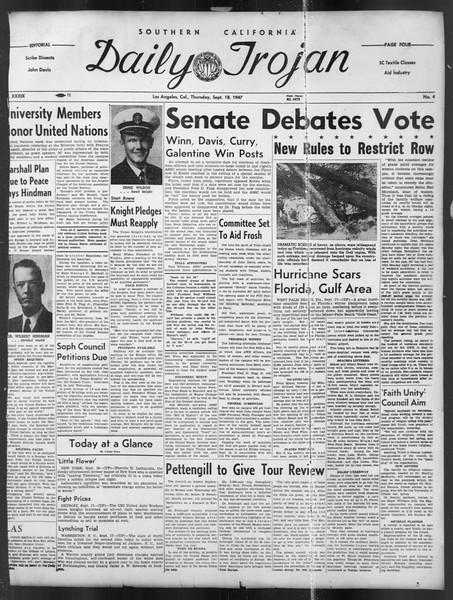 Daily Trojan, Vol. 39, No. 4, September 18, 1947