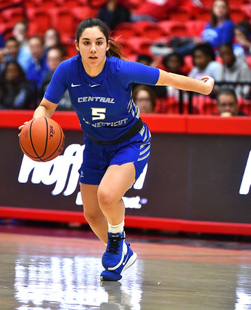 12/21/2019 Mike Orazzi | StaffrCCSU's Bruna Vila Artigues (5) during Saturday's women's basketball game with The University of Hartford in West Hartford.