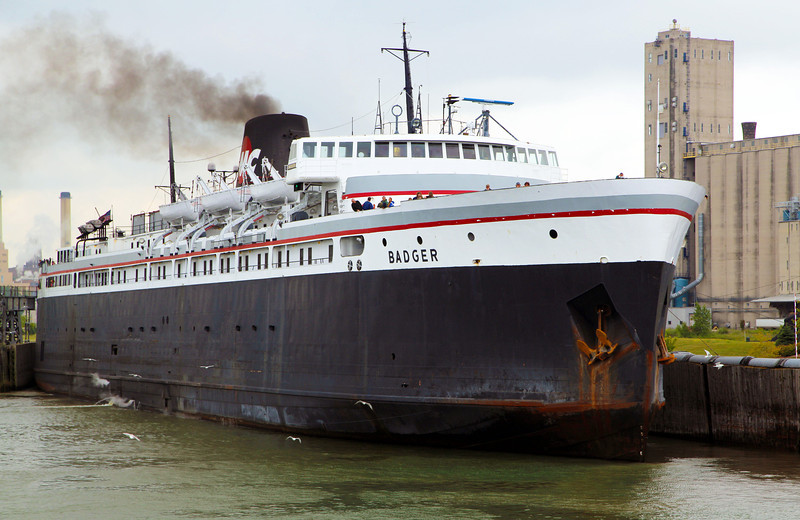 We lead the Badger into Manitowoc -- last Great Lakes coal-fired ship.  410 feet long.  620 passengers.